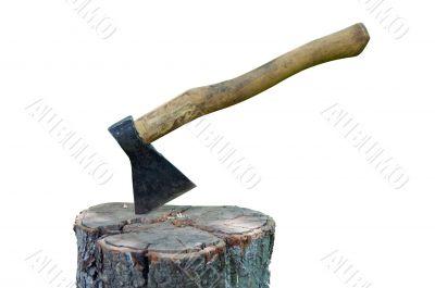 Splitting axe on a pack