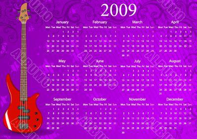 Vector European calendar with guitar