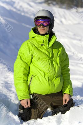 Young rider on the snow