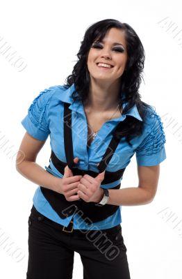 Brunette woman in blue