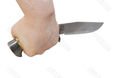 Knife in hand (with clipping path)