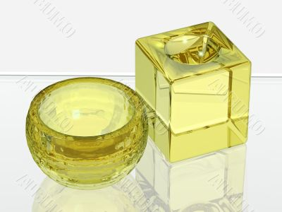 Two glass objects for spa