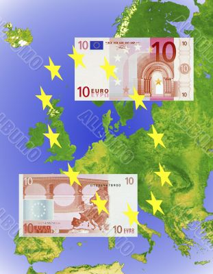 10 Euro note on Euro map