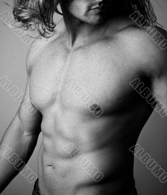Abs of a muscular man