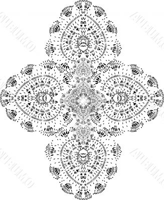 Vector cross fake tattoo element, black and white ornament, lac