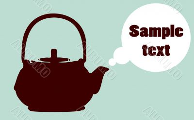 Abstract vector Boiling teapot silhouette  poster, preparation r