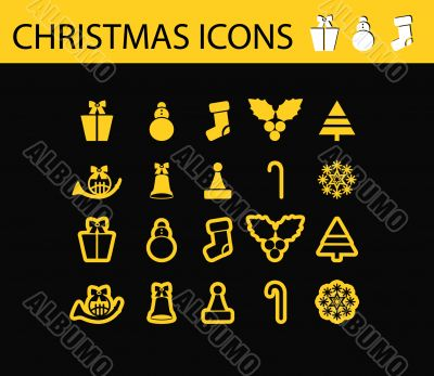 Abstract vector illustration of schristmas icons and symbols, sh