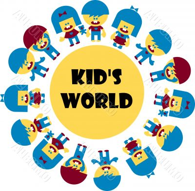 children`s, happy kids world emblem, Symbol of Childcare, group