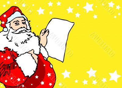 Christmas SAnta card, navidad poster, paper
