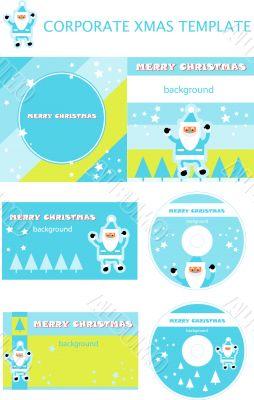 Corporate christmas presentation, report template. Santa backgro