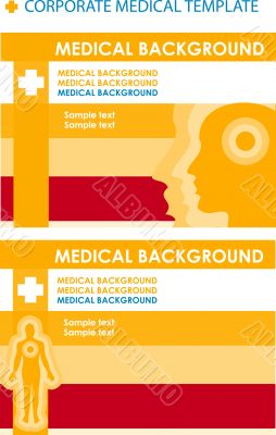 2 Corporate Medical background with human body & face.Cover and