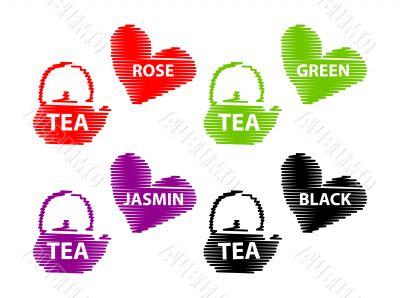 Different Tea Emblems - Black, Rose, Jasmin, Green fake stroke l
