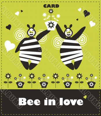 Floral card with couple bee in love. Fake paper congratulation c