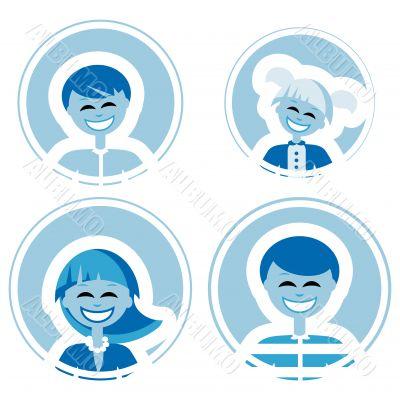 Happy family vector icons, logo element, decoration