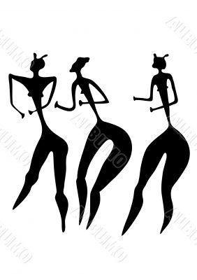 three women - primitive art - vector