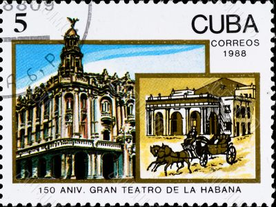 postage stamp celebrate 150 anniversary theater in Havana
