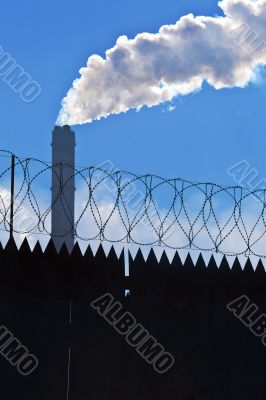 Original barbed and smoke industrial background.