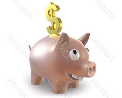 3d piggy bank with dollar symbol