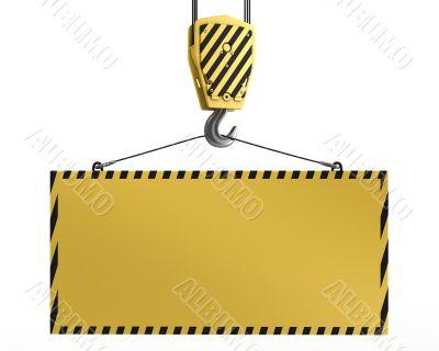 Yellow crane hook lifting blank yellow for design purposes