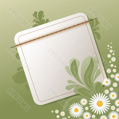floral background with empty note