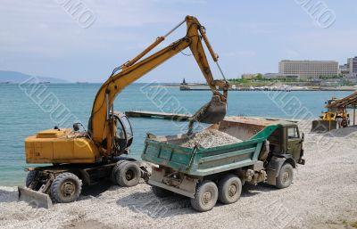 Preparation of a beach for a summer season
