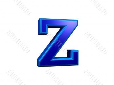Letra z minuscula 3D azul