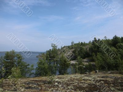 The islands of Ladoga lake covered with a moss