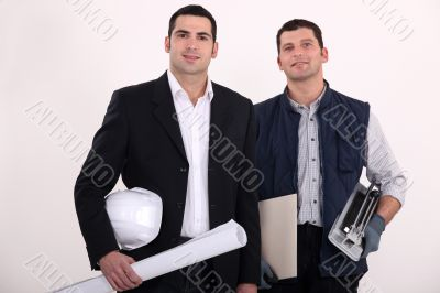 a construction manager and a worker