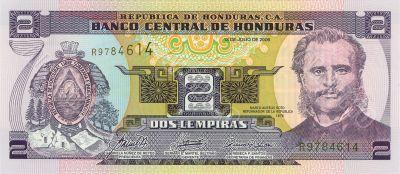 2 lempira bill of Honduras