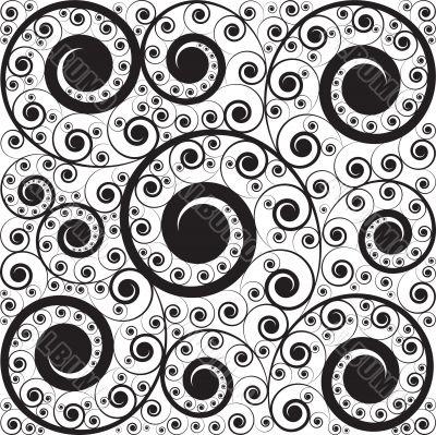 monochrome pattern of curls