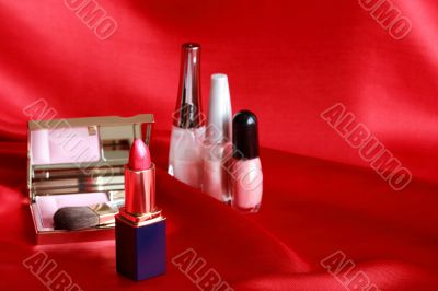 Makeup Set On Red
