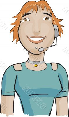 Call center girl with a green bluse