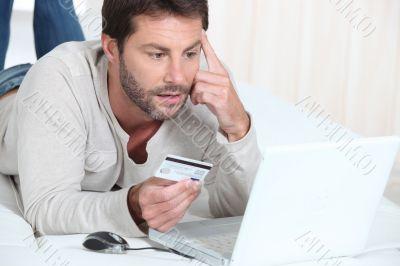 Man purchasing goods online