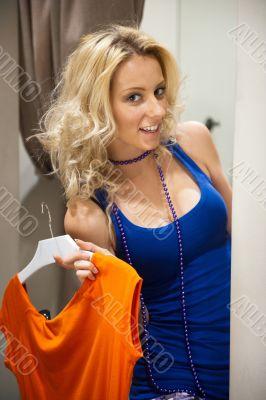 Pretty woman shopping clothes