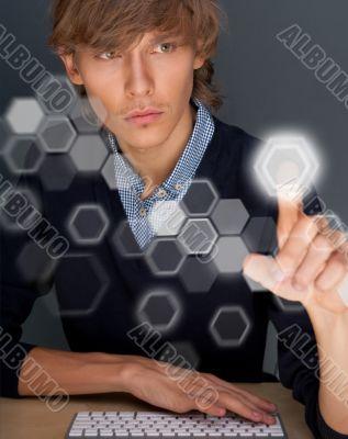 Business Man pressing digital button, futuristic technology