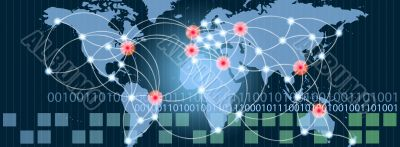 World map with hot points of connections network and servers loc