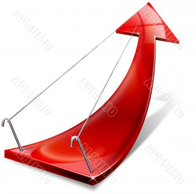 Red positive arrow