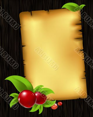 paper with leaves and berry