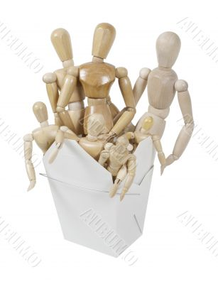 Human Wooden Art Models in a Take Out Box