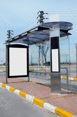 Blank bus stop billboard