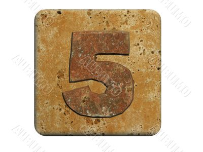 3d stone five number , on a white isolated background.