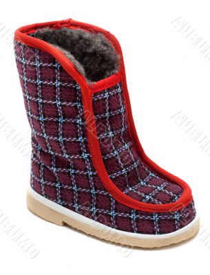 Cloth baby striped boot with fur