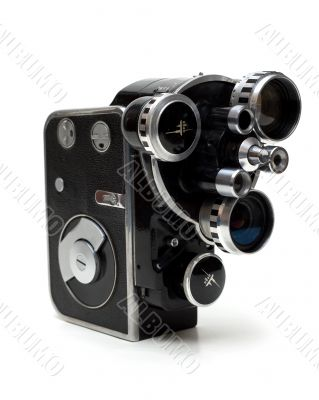 Old movie camera 16 mm with three lenses