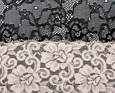 Black and beige lace with pattern flower