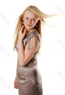Beautiful girl in satin gown