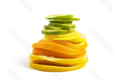 Vitamin C Overload, Stacks of sliced fruit