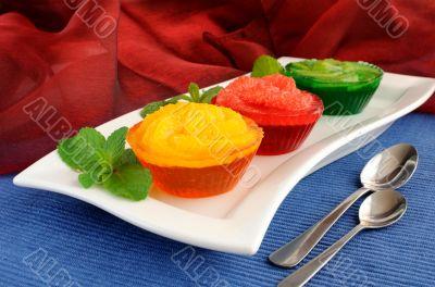 Dessert of fresh fruit in jelly