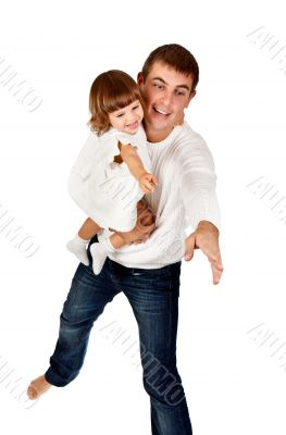 dad and daughter shown his hand in the studio