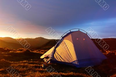 Camping tent in the morning sunlight