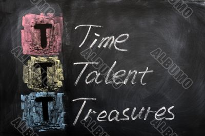 Acronym of TTT for Time, Talent, Treasures